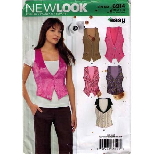 2009 New Look VESTS Pattern 6914-nl Sizes 4-16 UNCUT