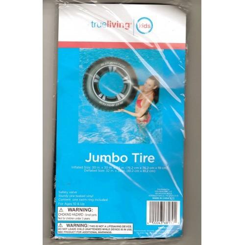 True Living Inflatable Black 30 Inch Jumbo Mud Master Vinyl Swim Tire