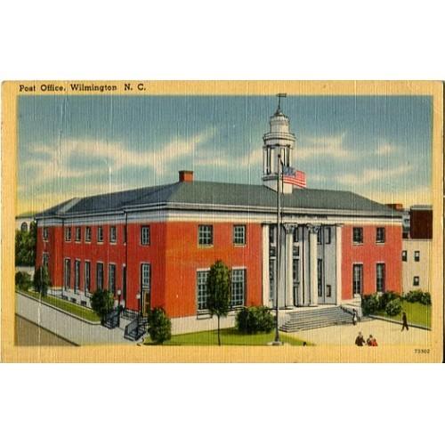 Linen Postcard. Post Office, Wilmington, N.C.