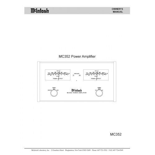 McIntosh MC-352 Amplifier - Owners Manual