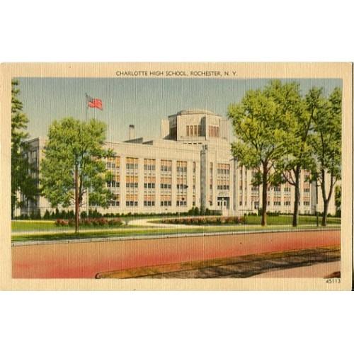 Linen Postcard. Charlotte High School, Rochester, N.Y.