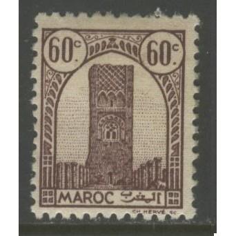 1943  French Morocco  60 c. Tower of Hassan, Rabat  mint*,  Scott # 182