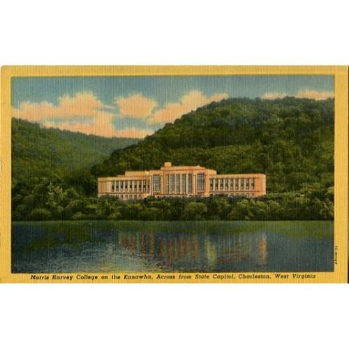 Linen Postcard. Morris Harvey College on the Kanawha...Charleston, West Virginia