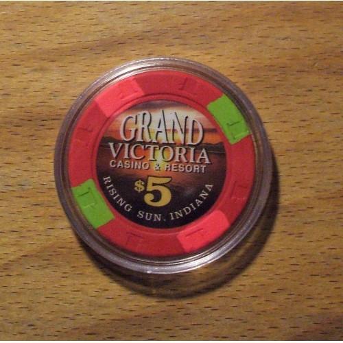 GRAND VICTORIA $5. Casino Chip - RISING SUN, INDIANA - Shipping Discounts