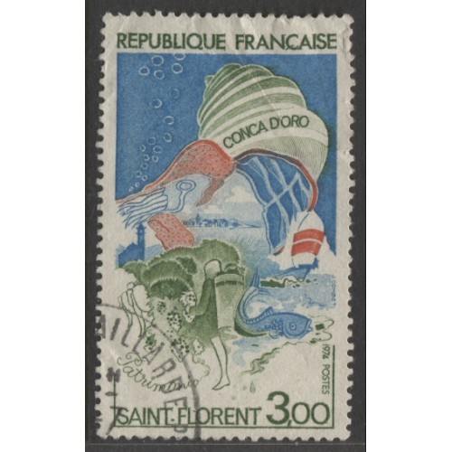 1974  FRANCE   3.00 Fr.  Seashell over Corsica  used,  Scott # 1406