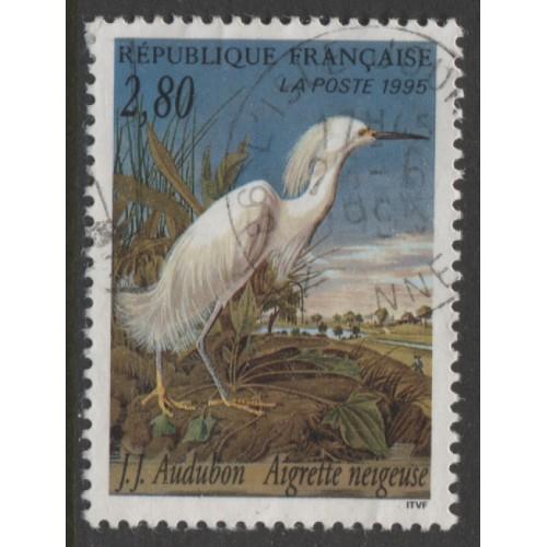 1995  FRANCE   2.80 Fr.  Snowy Egret   used,  Scott # 2462