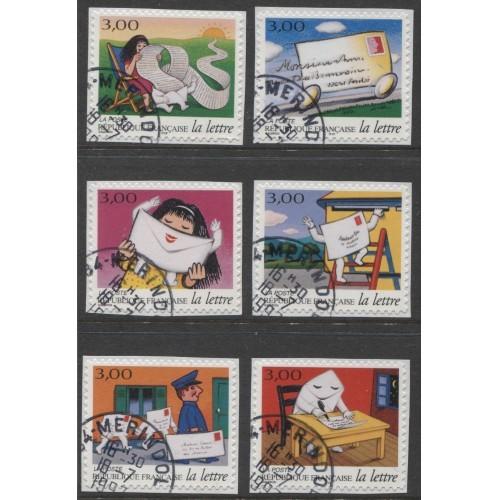 1997  FRANCE    Cartoon, Journey of a Letter full  set  used,  Scott # 2575-2580