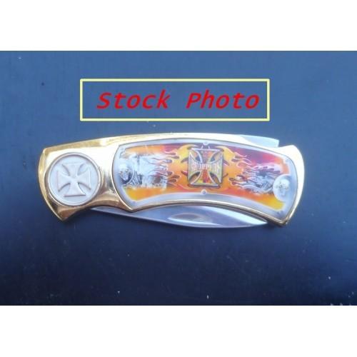 Flaming Skull Chopper Lock Blade Pocket Knife
