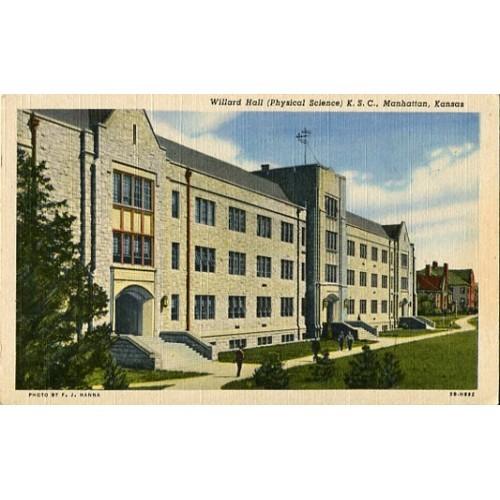 Linen Postcard. Willard Hall (Physical Science), K.S.C., Manhattan, Kansas
