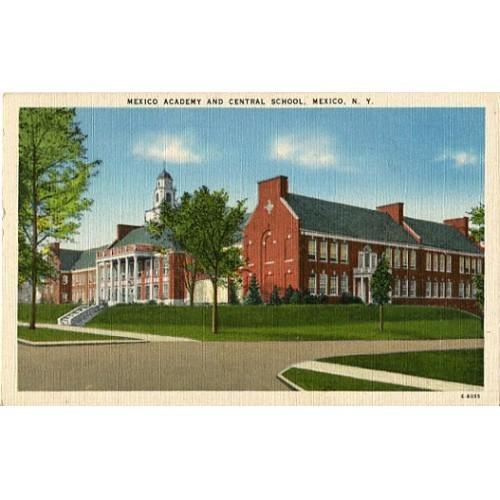Linen Postcard. Mexico Academy and Central School, Mexico, N.Y.
