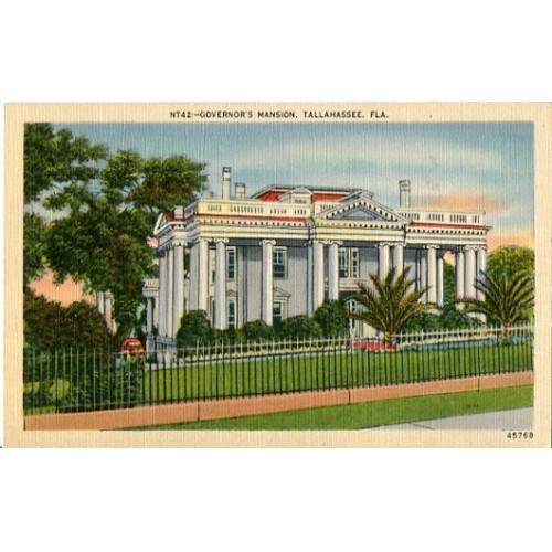 Linen Postcard. Governor's Mansion, Tallahassee, Fla.