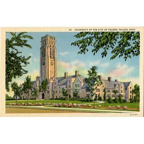 Linen Postcard. University of the City of Toledo, Toledo, Ohio