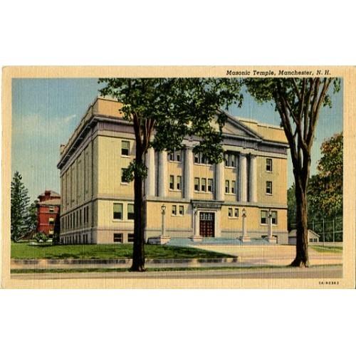 Linen Postcard. Masonic Temple, Manchester, N.H.