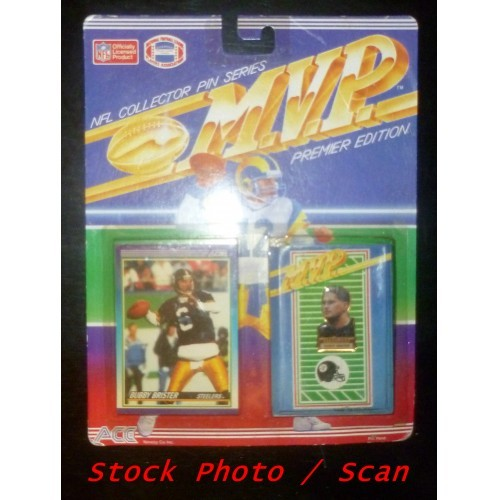 MVP Premier Edition NFL Collector Pin Series Bubby Brister Pin And Card Set