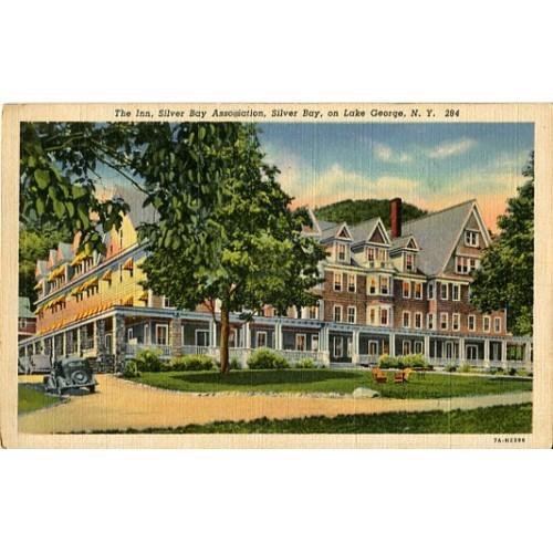 Linen Postcard. The Inn, Silver Bay Association, Silver Bay, on Lake George, N.Y