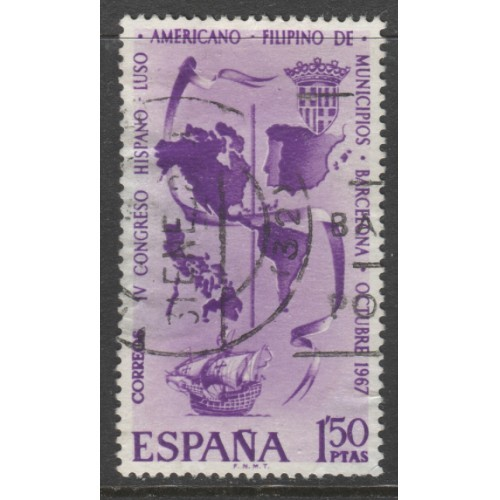 1967 SPAIN   1.50 Pts.  Map of Americas, Spain & Philippines  used, Scott # 1488