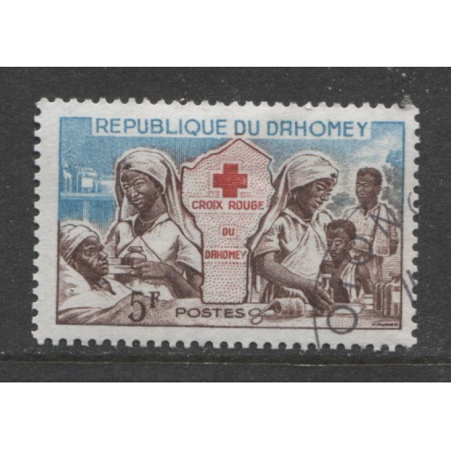 1962  DAHOMEY  5 Fr.  Red Cross  issue  used,  Scott # 156