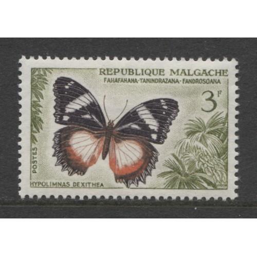 1960  Malagasy   3 Fr.  Butterfly  issue   mint*,  Scott # 310