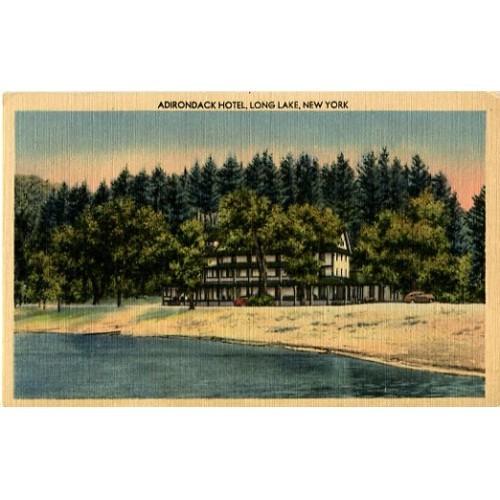 Linen Postcard. Adirondack Hotel, Long Lake, New York