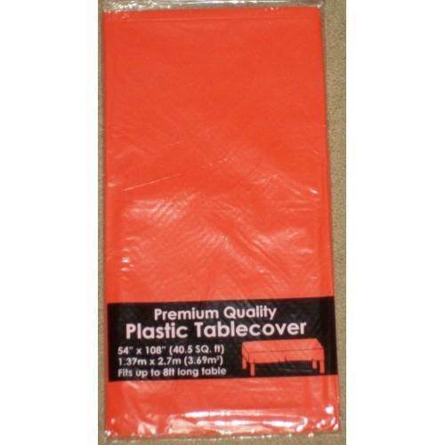 "Halloween Plastic Table Cover 54""x108"" Solid Orange"