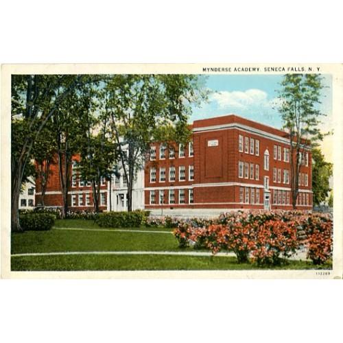 White Border Postcard. Mynderse Academy, Seneca Falls, N.Y.