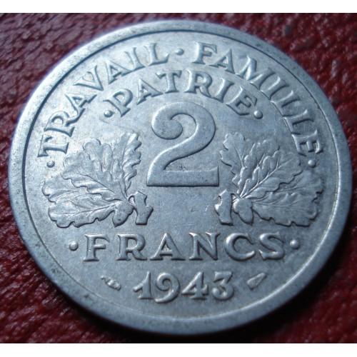 1943 FRANCE 2 FRANCS IN VF-EF CONDITION