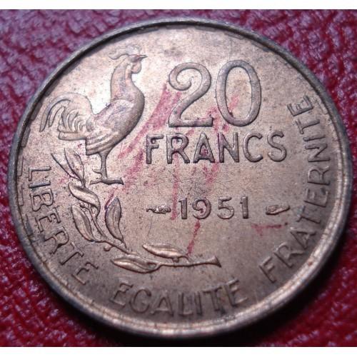 1951 FRANCE 20 FRANCS IN EF-AU CONDITION