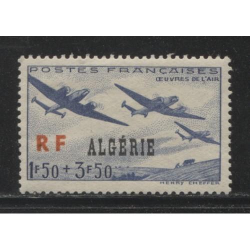 1945  FRENCH ALGERIA  1.50 + 3.50 Fr.  semi postal  issue   mint*,  Scott # B43