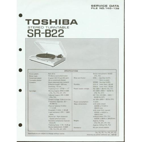 Toshiba - Model SR-B22 Turntable - Service Manual