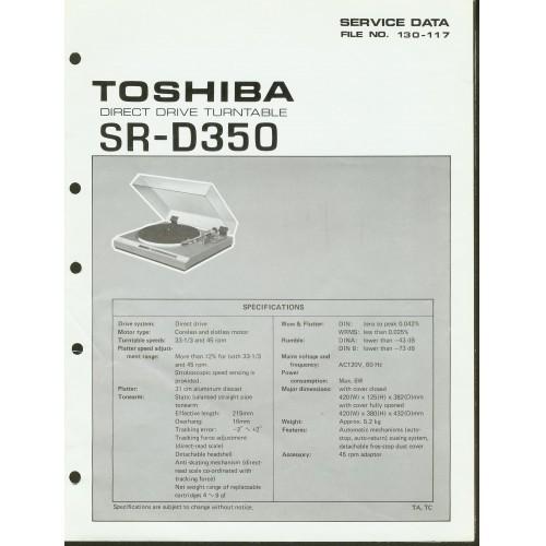 Toshiba - Model SR-D350 Turntable - Service Manual