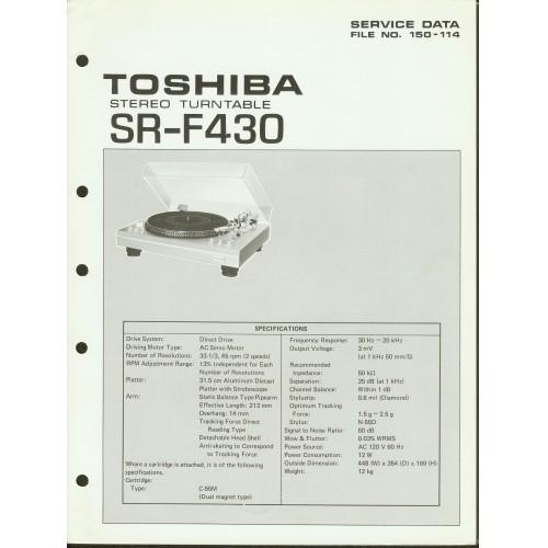 Toshiba - Model SR-F430 Turntable - Service Manual