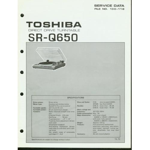 Toshiba - Model SR-Q650 Turntable - Service Manual