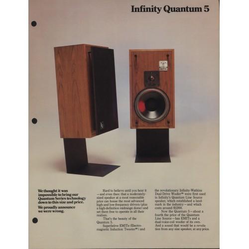 Infinity - Model Quantum 5 Speaker - Sales Brochure
