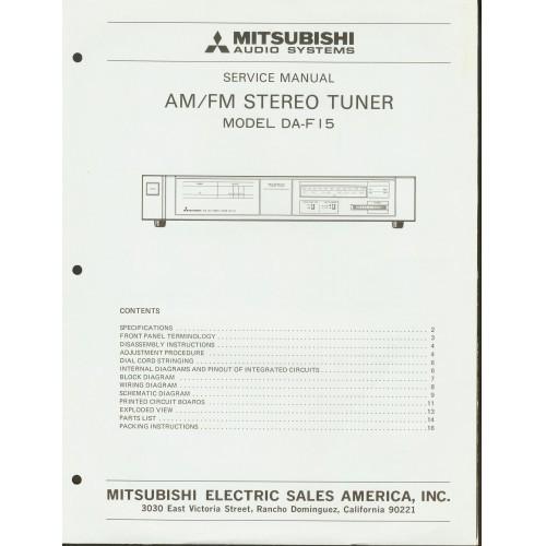 Mitsubishi - Model DA-F15 Tuner - Service Manual