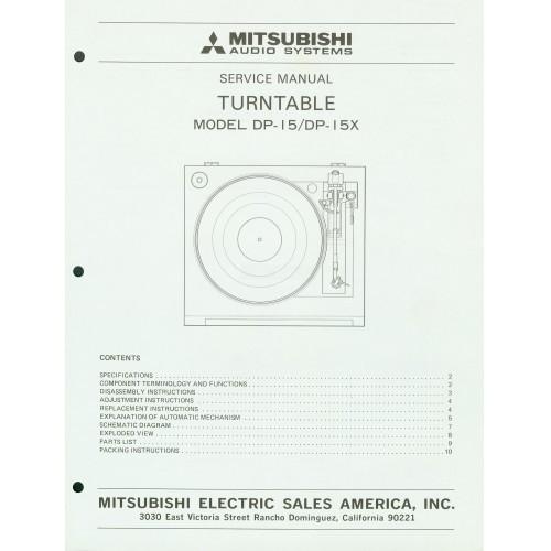 Mitsubishi - Model DP-15/15X Turntable - Service Manual