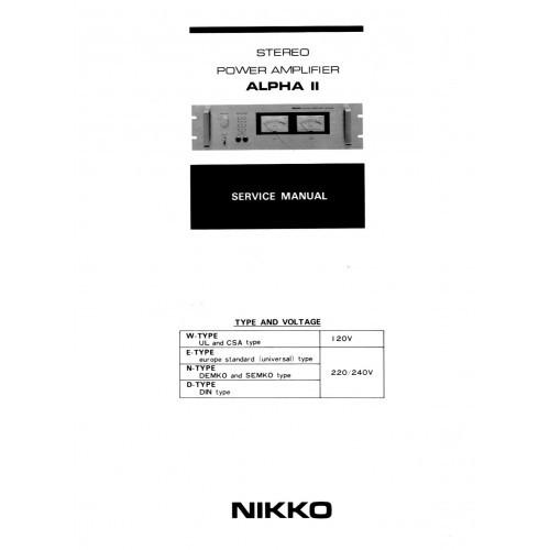 Nikko - Model Alpha-II Amplifier - Service Manual