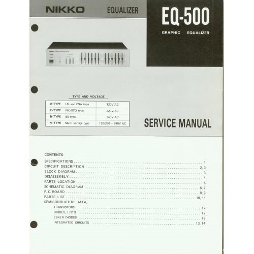 Nikko - Model EQ-500 Equalizer - Service Manual