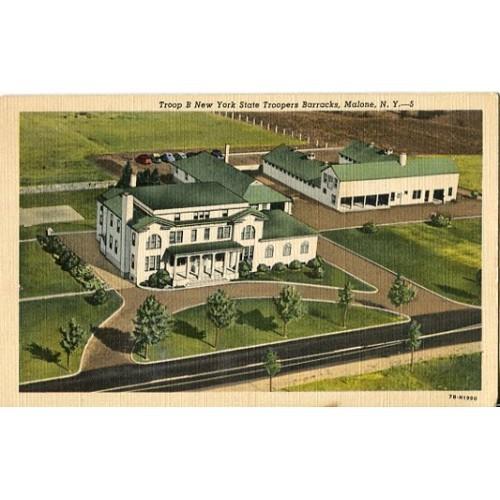 Linen Postcard. Troop B New York State Troopers Barracks, Malone, N.Y.