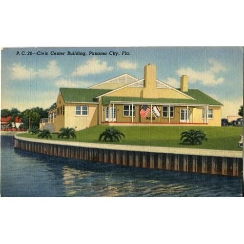 Linen Postcard. Civic Center Building, Panama City, Fla.