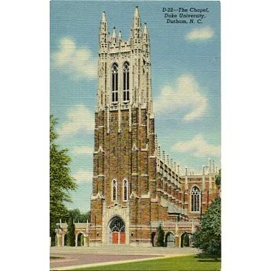 Linen Postcard. The Chapel, Duke University, Durham, N.C.