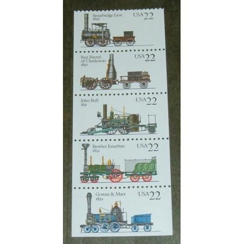 US, Scott# 2362-2366, twenty-two cent Locomotives set of 5 stamps