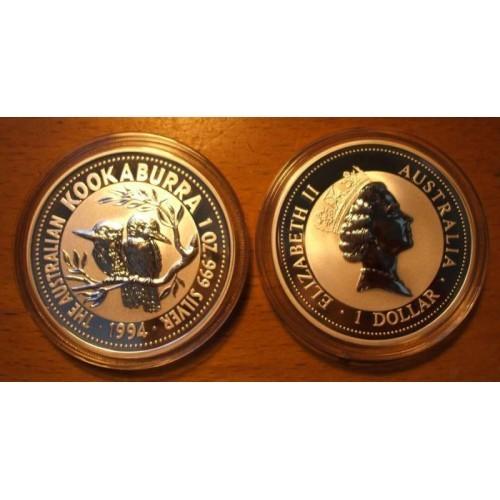 1994 Silver Kookaburra - 1 Oz. .999 Pure Silver (In Capsule)