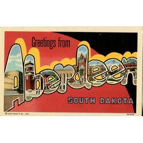 Linen Postcard. Greetings from Aberdeen, South Dakota
