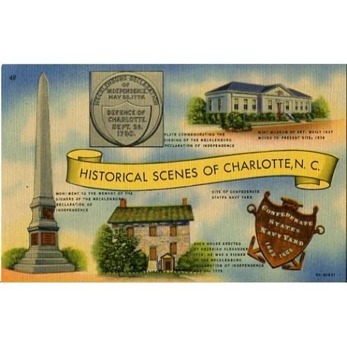 Linen Postcard. Historical Scenes of Charlotte, N.C.