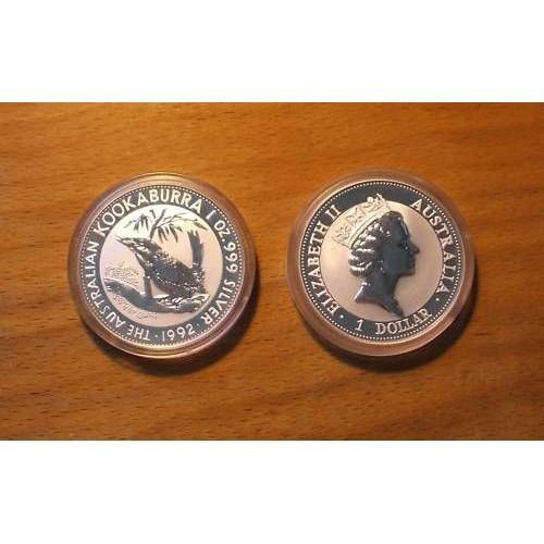 1992 Silver Kookaburra - 1 Oz. .999 Pure Silver (In Capsule)