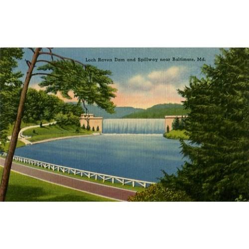 Linen Postcard. Loch Raven Dam and Spillway near Baltimore, Md.