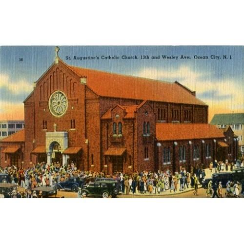 Linen Postcard. St. Augustine's Catholic Church...Ocean City, N.J.