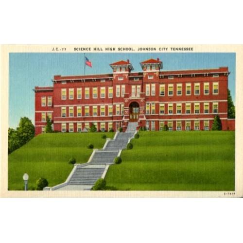 Linen Postcard. Science Hill High School, Johnson City, Tennessee