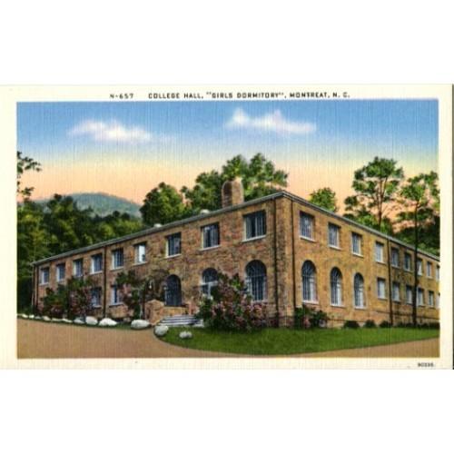 Linen Postcard. College Hall, Girls Dormitory, Montreat, N.C.