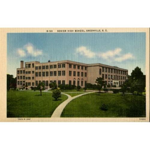 Linen Postcard. Senior High School, Greenville, S.C.